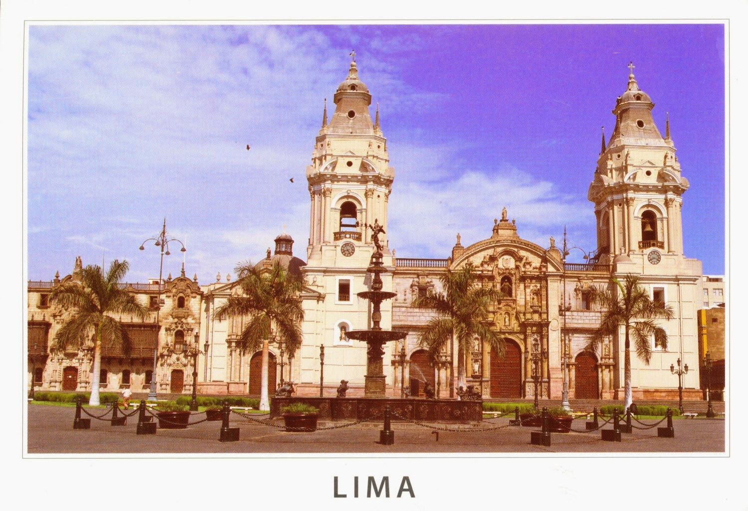 cathedral, lima, postcard, pizarro