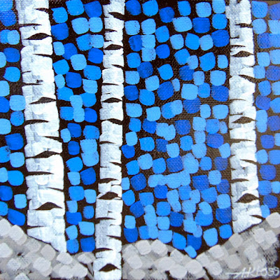 Birchscape: Blue, Aaron Kloss Artwork, Acrylic birch tree painting