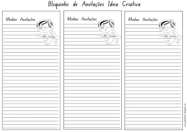 Bloquinho de Anotações para Imprimir