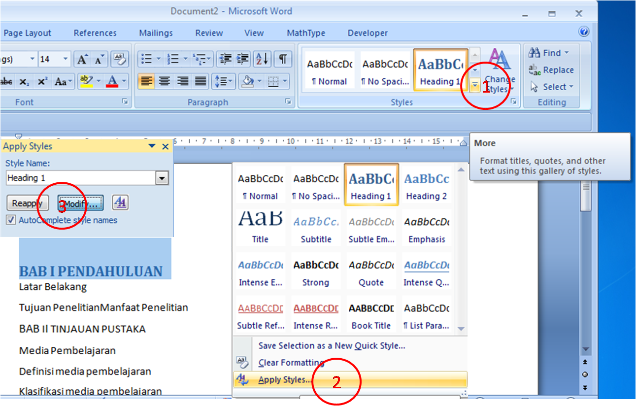 how to add a heading style in word