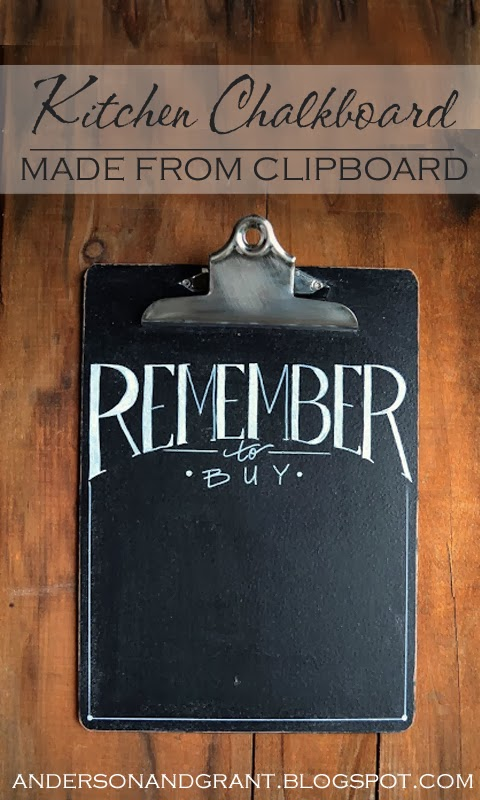Kitchen Chalkboard Made From Clipboard