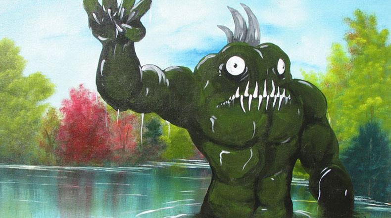 Monstruos pintados en pinturas de otra manera ordinarias
