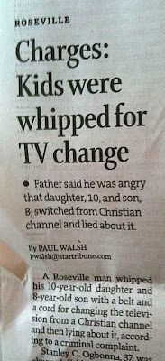 Newspaper story with headline Charges: Kids were whipped for TV change