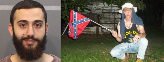 "It's Called Bullshit: Mohammad Youssuf Abdulazeez (left) and Dylann Roof. The FBI has automatically labeled the murder of four marines ""terrorism"" (""until proven otherwise"") while the murder of nine blacks by a Confederate flag waving, manifesto publishing white supremacist is not. Go figure."