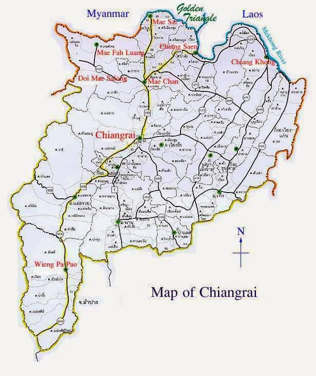 Les alentours de Chiang Rai - carte des environs de Chiang Rai