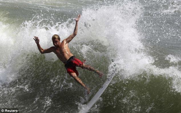 surfer at hurricane irene