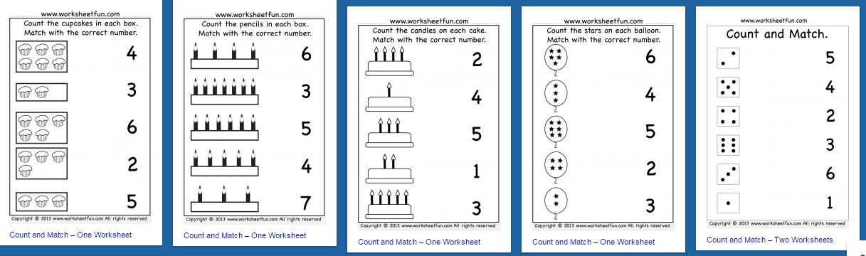 Lembar Kerja Matematika Untuk Anak Usia Dini Hitung Dan Pasangkan Belajar Membaca Menulis