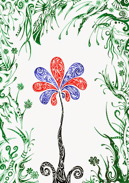 Dessins Fantastiques Fleur+bleue+et+rouge+2