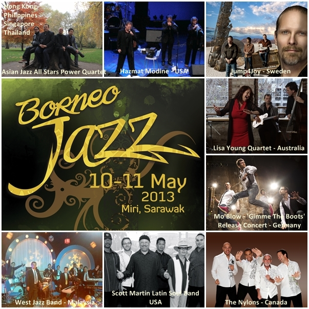 Photo collage of bands performing at Borneo Jazz Festival 2013
