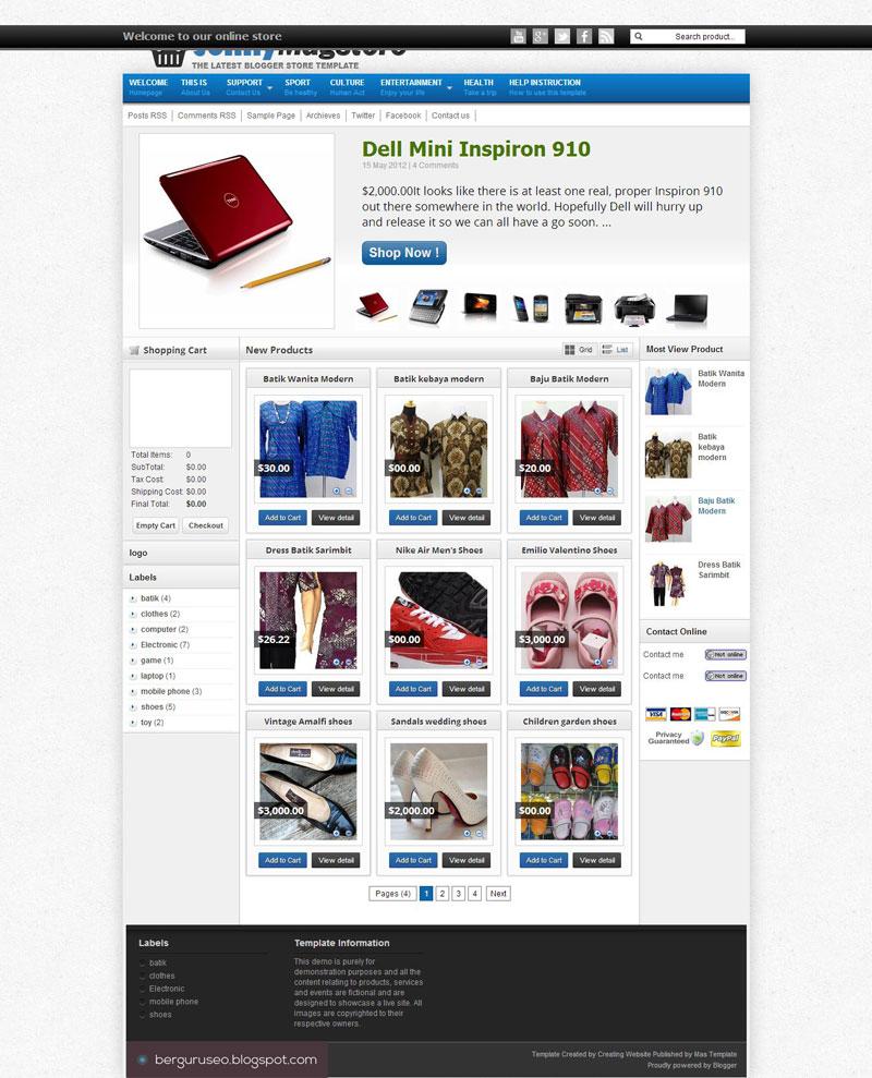 7 Template Blog Toko Online Gratis Dengan Desain Terbaik