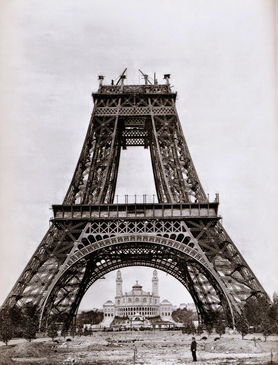 Eiffel Tower during construction in 1888, Paris