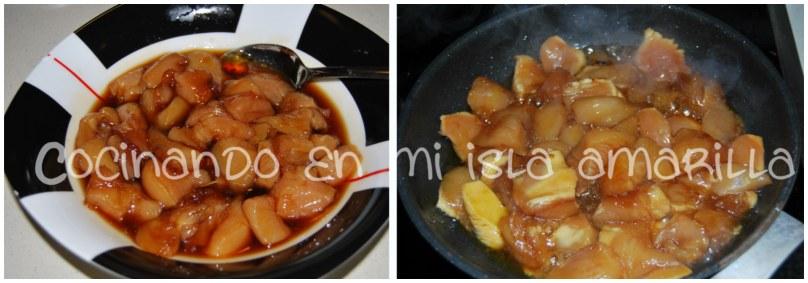 taquitos de pollo macerados en salsa de soja y miel