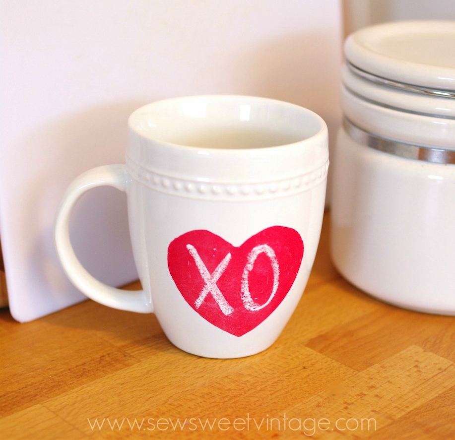 DIY chalkboard paint heart mug for Valentine's Day