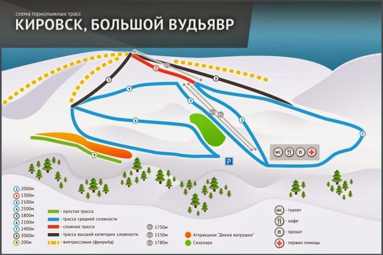 схема горнолыжных трасс Большой Вудьявр Кировск