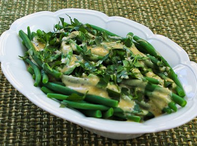Barely-Cooked Green Beans with Tahini-Lemon Sauce (plus 10 More Green Beans Recipes) found on KalynsKitchen.com
