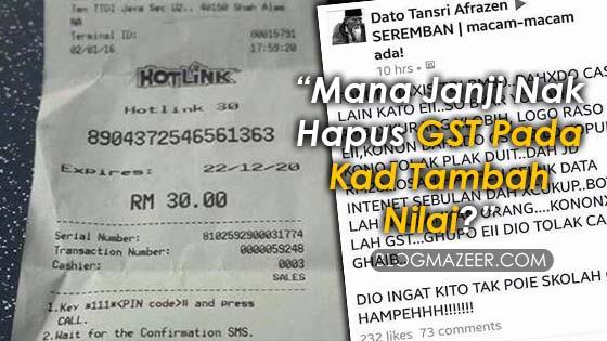 """Mana Janji Nak Hapus GST Pada Kad Tambah Nilai?"""