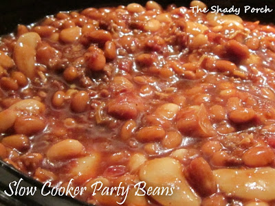 Slow Cooker Party Beans...best baked beans ever! #sidedish #bakedbeans #partybeans #entree #crockpot #slowcooker