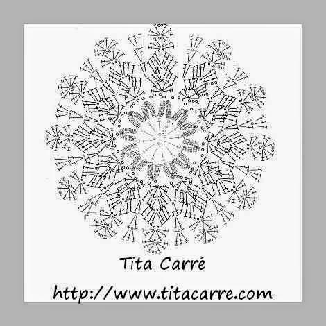 gráfico pattern de flor em crochet