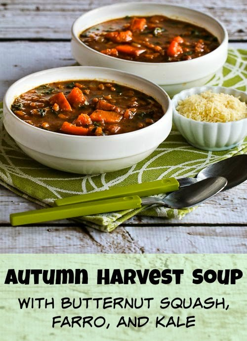 Autumn Harvest Soup with Butternut Squash, Kale, and Farro or Brown Rice found on KalynsKitchen.com