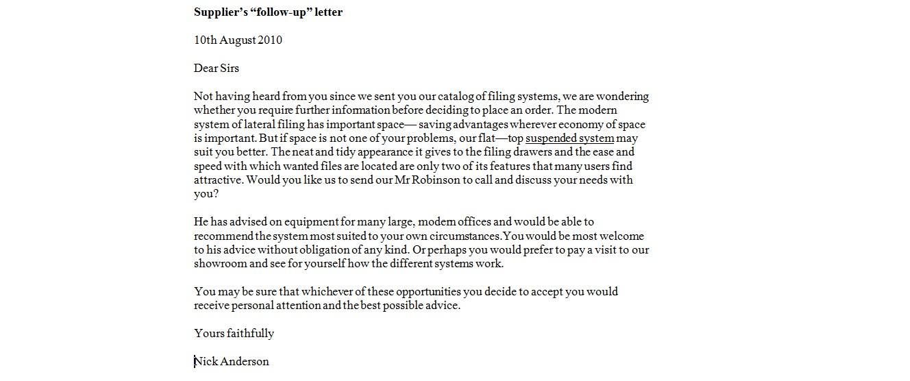 Business Follow Up Letter  BesikEightyCo