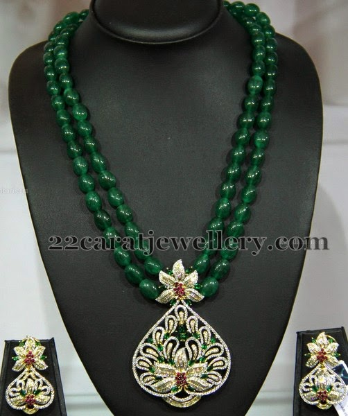 Emerald Beads Set With Pretty Locket Jewellery Designs