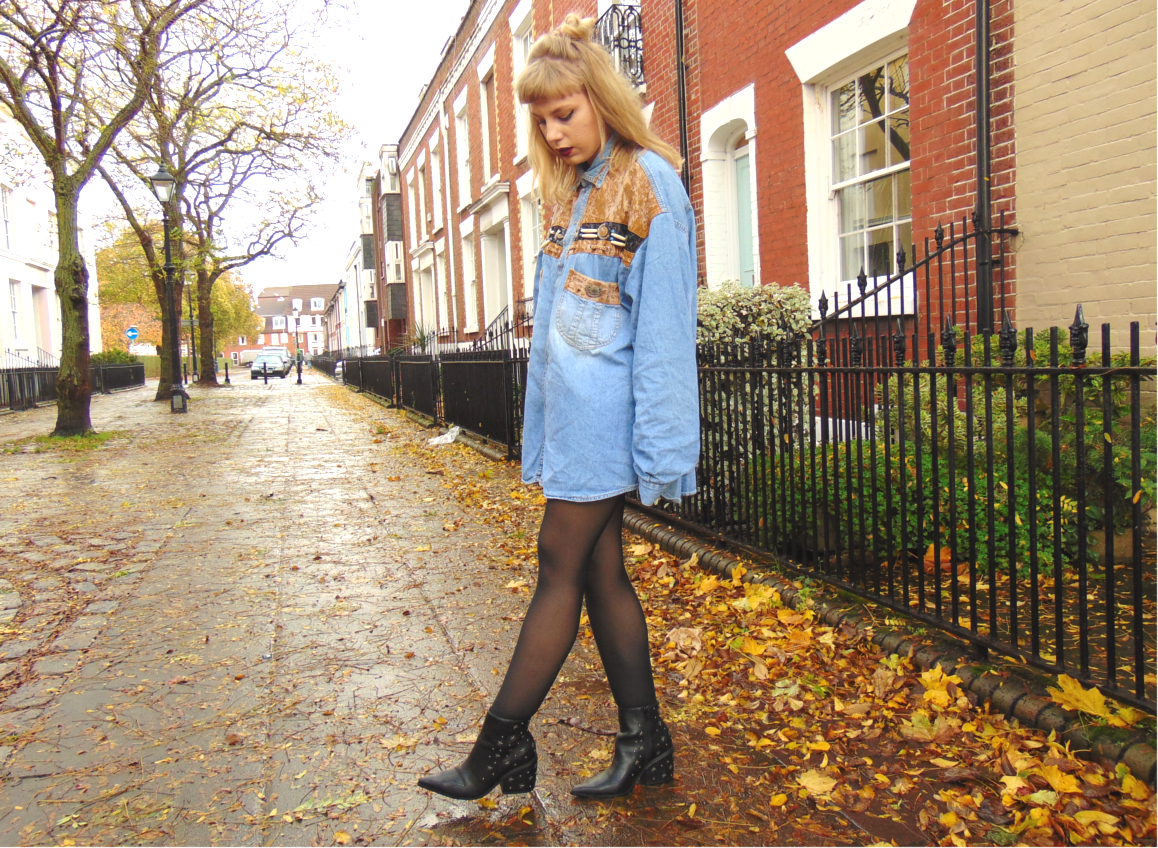 vintage oversized denim shirt, cowboy denim shirt, embellished denim shirt, shirt dress, vintage outfit inspiration, pointed black boots, studded ankle boots, el paso asos boots, western inspired outfit, autumn winter 2015 outfit
