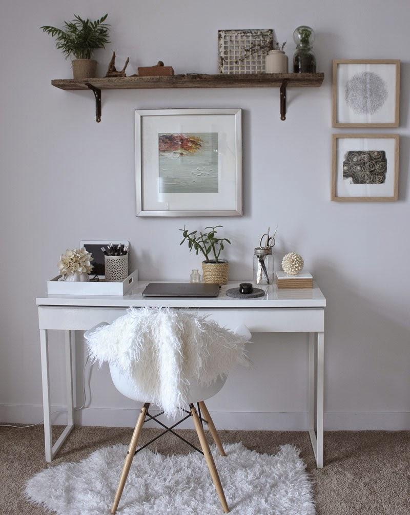white desk, natural modern office, minimal office