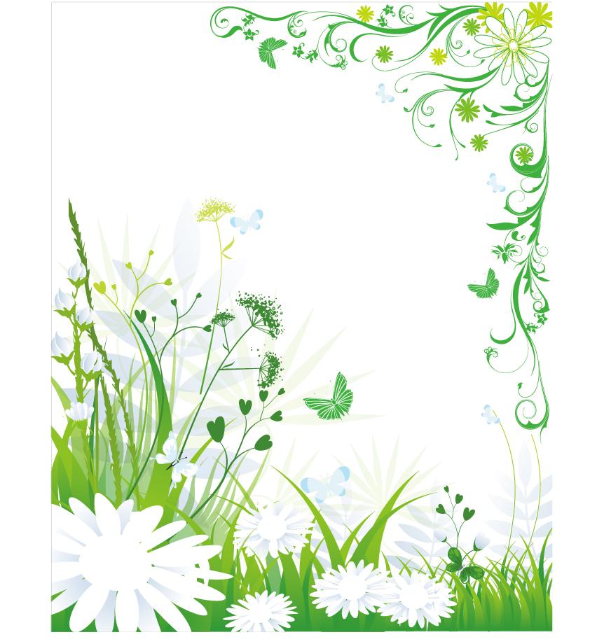 緑の植物が優雅なコーナー フレーム plant leaf flower frame vector イラスト素材