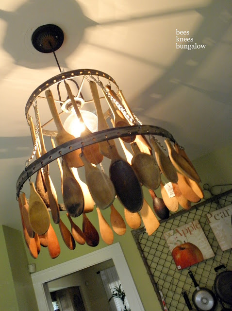 Dishfunctional designs wooden spoon crafts for Spoon chandelier diy