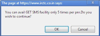 Get SMS - IRCTC SMS count is 5 per ticket