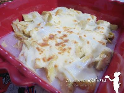 Alcachofas gratinadas con mozzarella