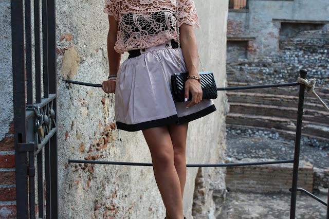 taormina, sicilia, outfit, gonna taffetà, pizzo