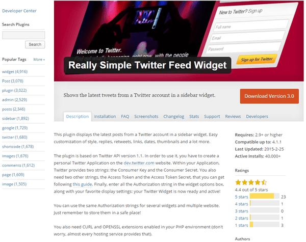 Really Simple Twitter Feed Widget