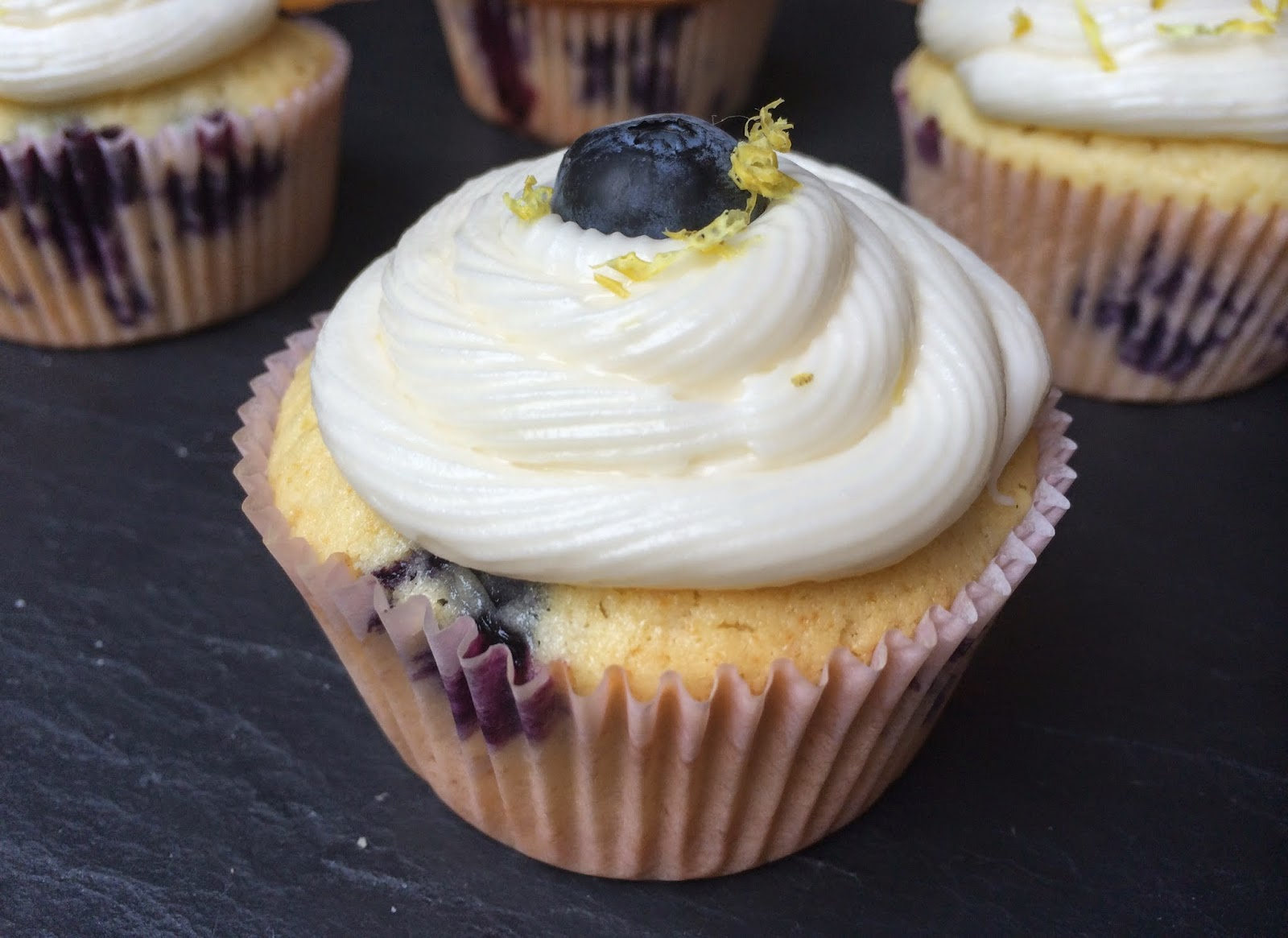 Blueberry Cupcakes with Lemon Cream Cheese Frosting