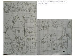 le village d'Aullène en Alta Rocca vu par la petite Coralie en août 2012