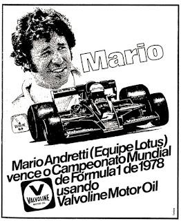 propaganda Valvoline Motor Oil - 1978; Mario Andretti - Equipe Lotus; reclame de carros anos 70. brazilian advertising cars in the 70. os anos 70. história da década de 70; Brazil in the 70s; propaganda carros anos 70; Oswaldo Hernandez;
