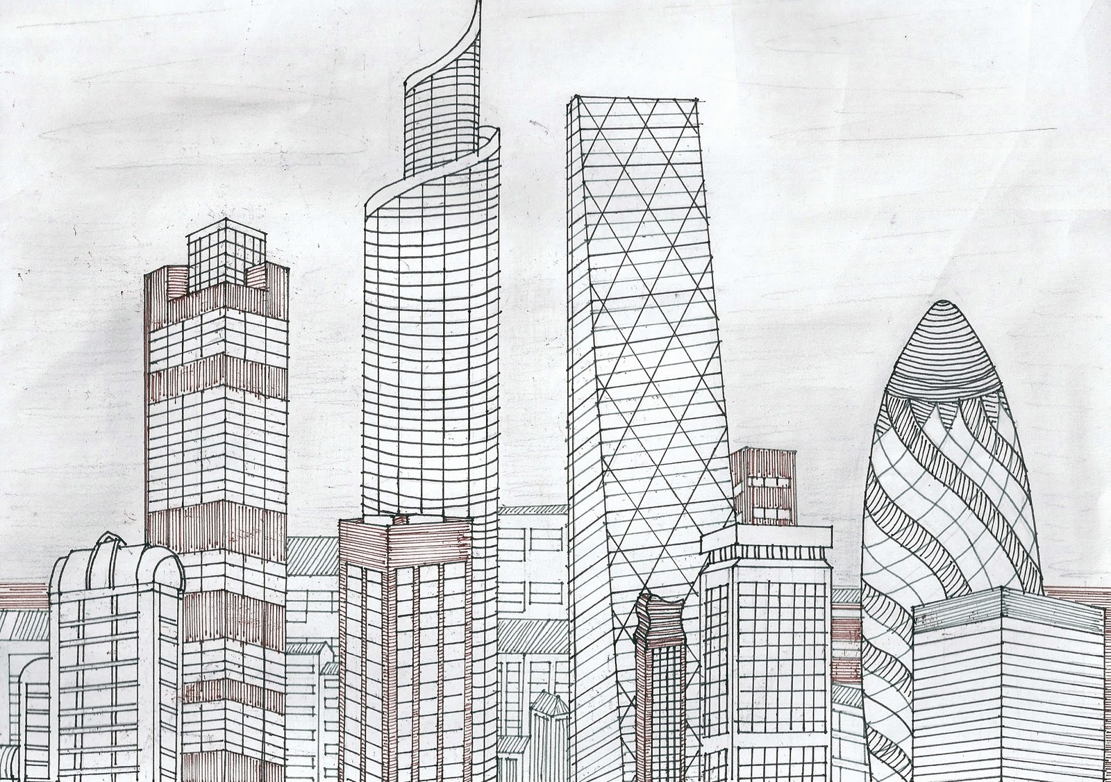 city skyline sketches - photo #27