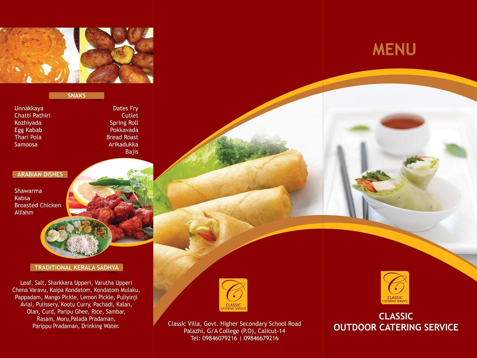 classic catering 2 fold menu