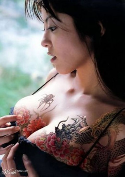 nude tattoo in the breast