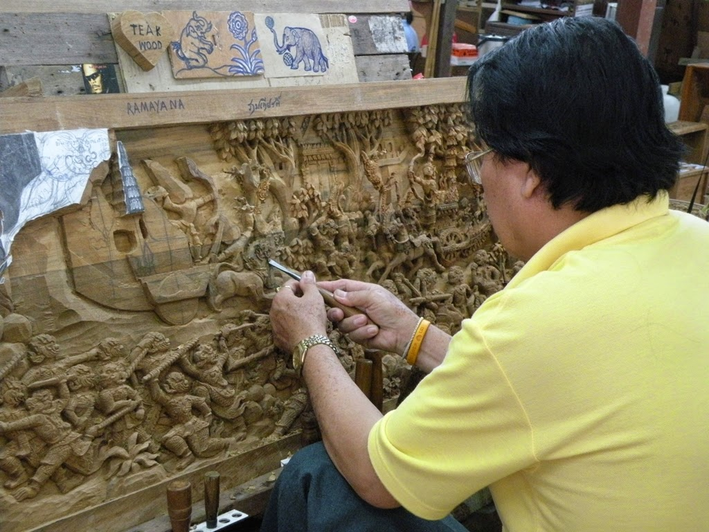 Wood carver at work