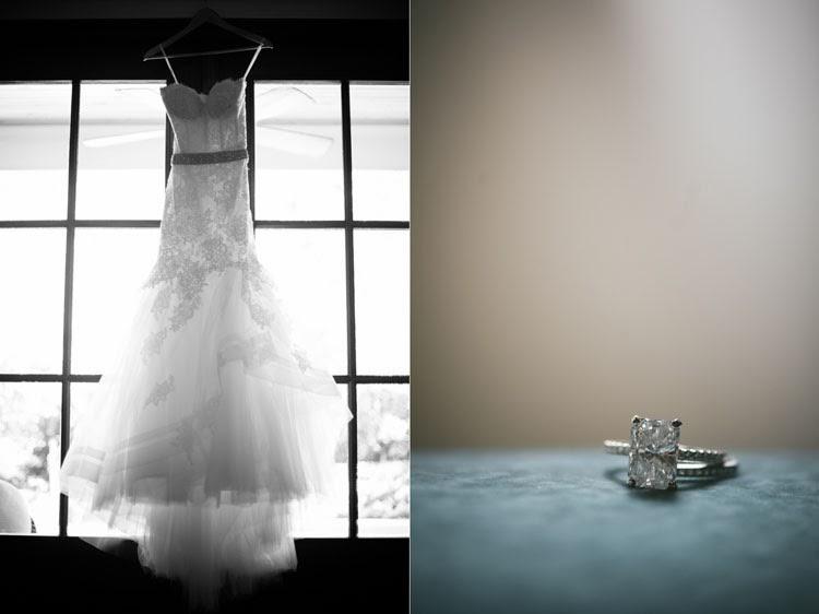 Monique Lhuillier wedding dress and five carat diamond ring on blue velvet