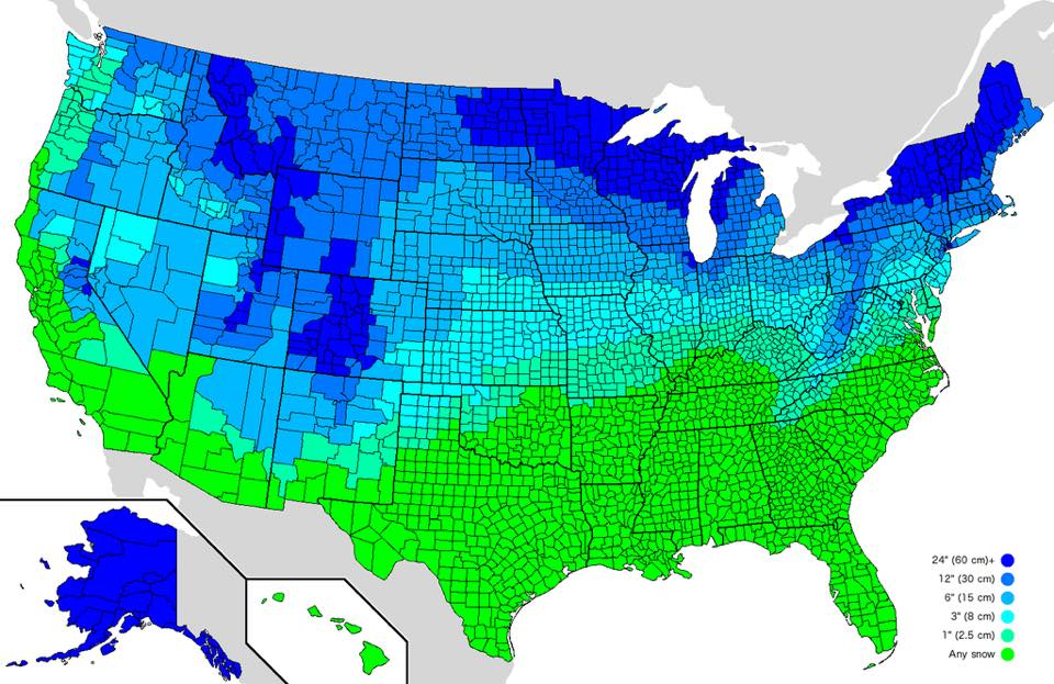 How much snow it typically takes to cancel school in the USA