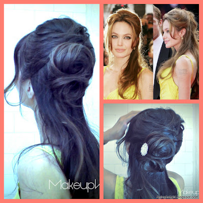 How to make a flower bun, formal easy hairstyles updo on medium long hair, inspired by Angelina Jolie hair tutorial