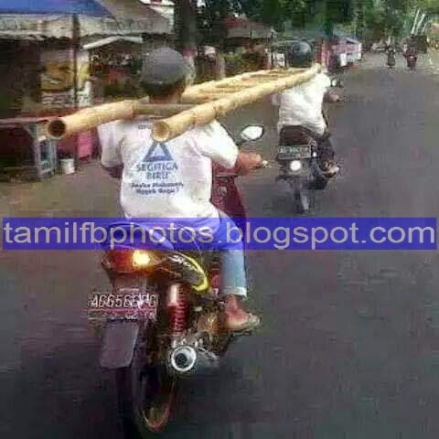 Facebook Funny photos to Share as Status - Two Bike riders with ladder