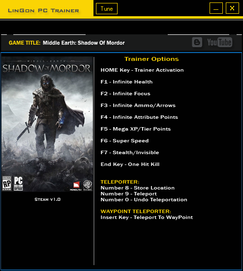 Middle Earth Shadow Of Mordor trainer games
