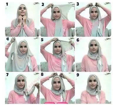 Foto Tutorial Cara Pakai Hijab Paris Pinky Modern