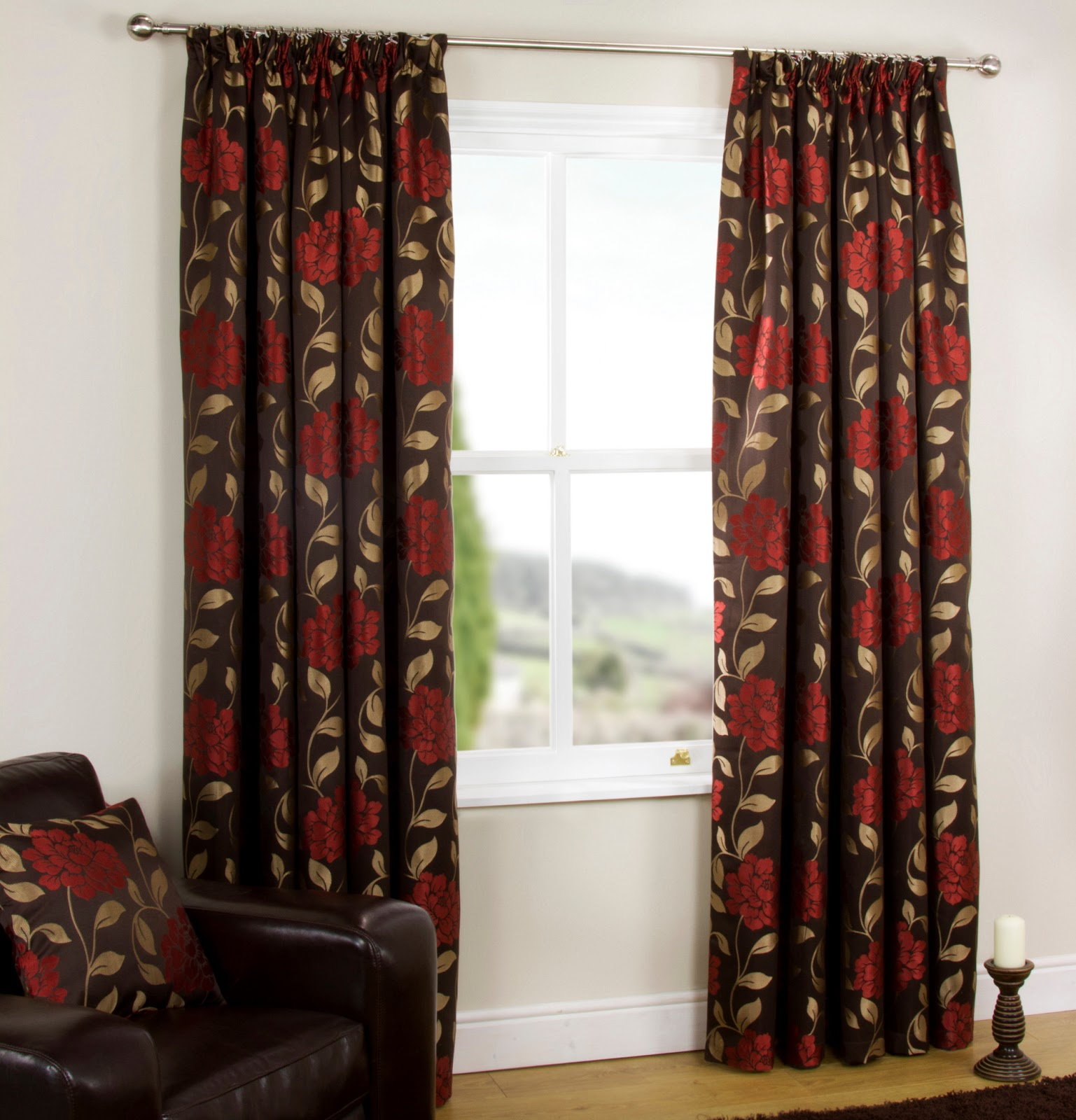 Blue Fl Curtains Red Pink Yellow Black Green Vine