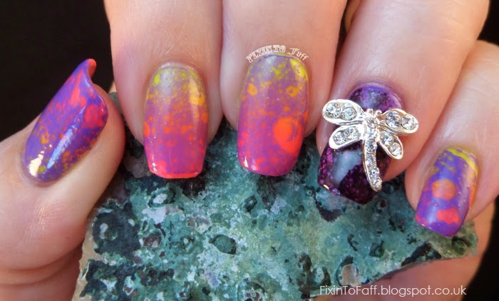 waterspotted neon nail art