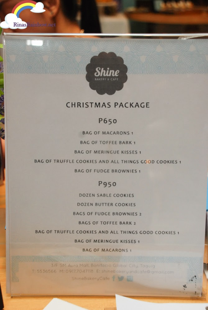 shine bakery christmas package