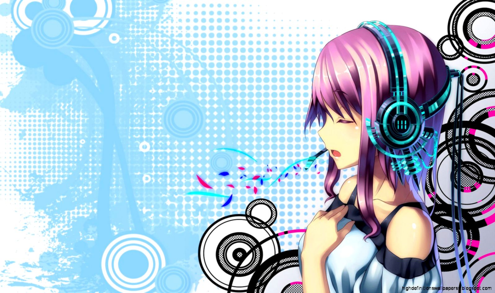 blue anime girl music wallpapers hd high definitions